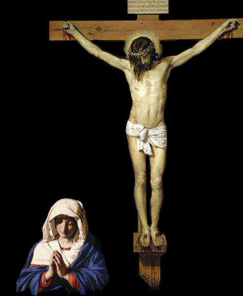 The Virgin Mary stands with her crucified Son