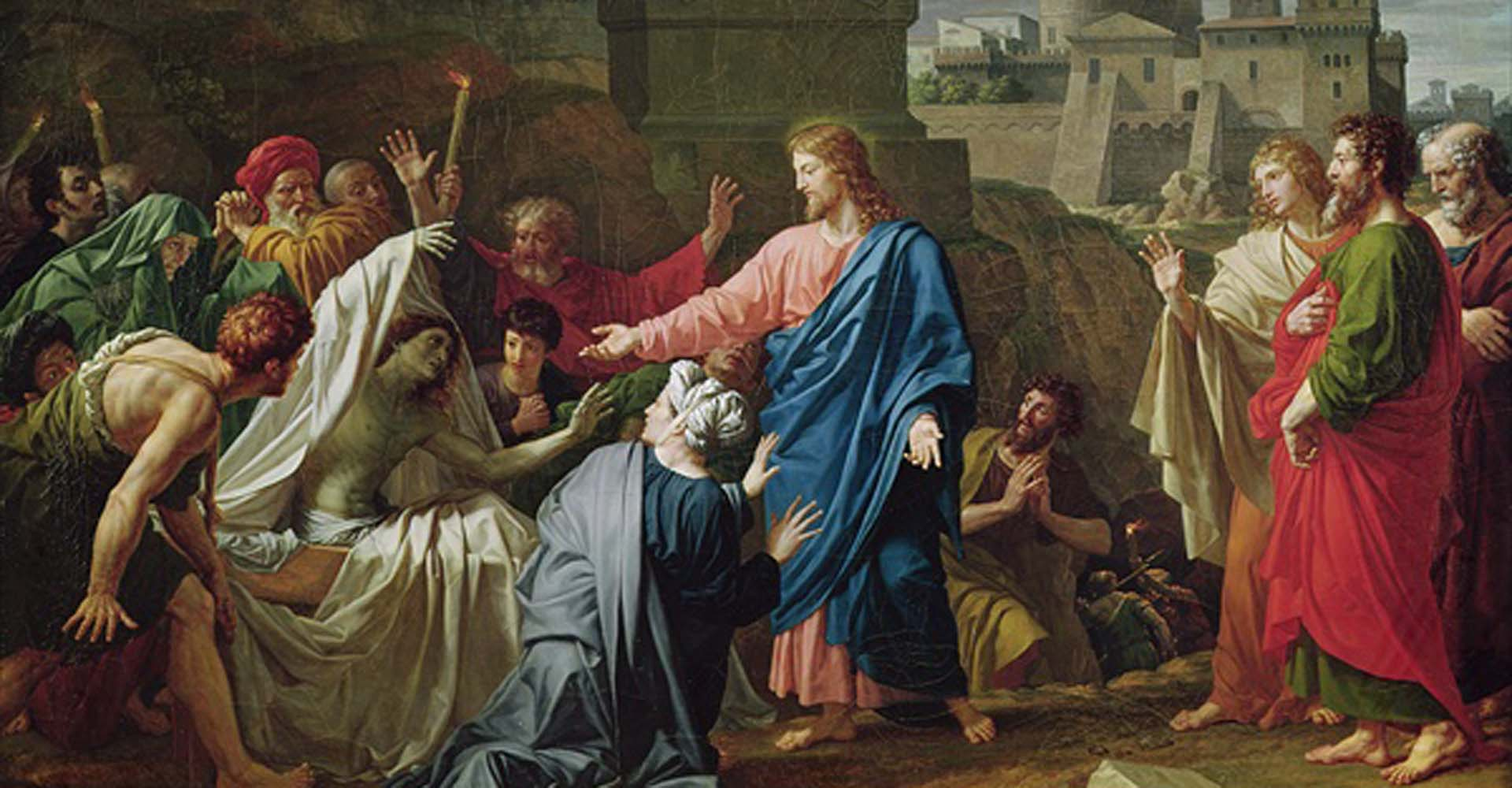 Miracle of Jesus. Jesus raises the son of the widow of Nain