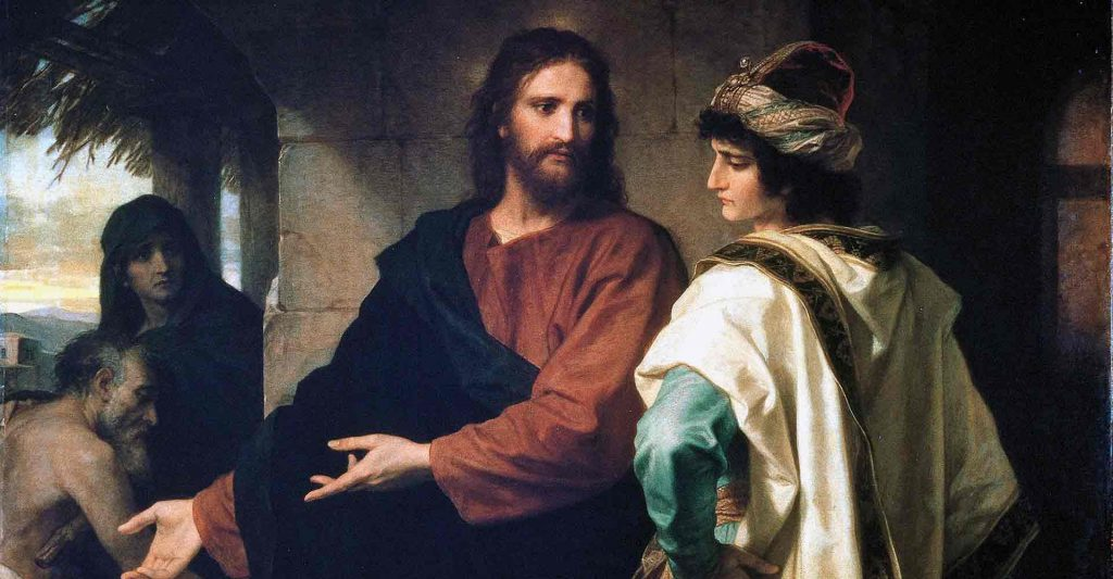 Christ and the rich young man, money
